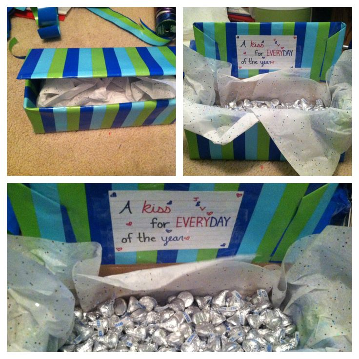 """365 Hershey kiss gift box! Creative gift for a partner! Whether you're older, or a teenager like me, this gift is fun and simple.  An easy way to make your loved one happy. Take any box (shoe box) and wrap it. Buy Hershey kisses until you have 365 and make a card saying """"A kiss for everyday of the year"""" or add your own touch! Very easy and simple, and VERY affordable."""