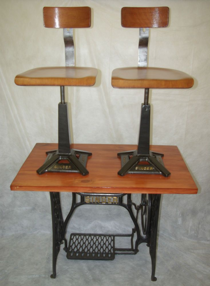 Vintage Industrial Singer Sewing Machinist Machine Chairs