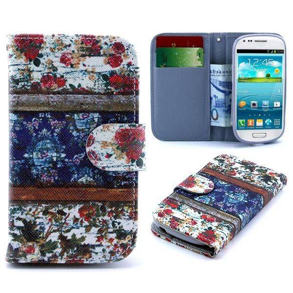 Vintage flowers bookcase voor Samsung Galaxy S3 mini