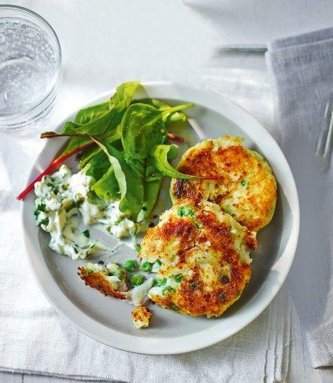 Potato and pea fishcakes