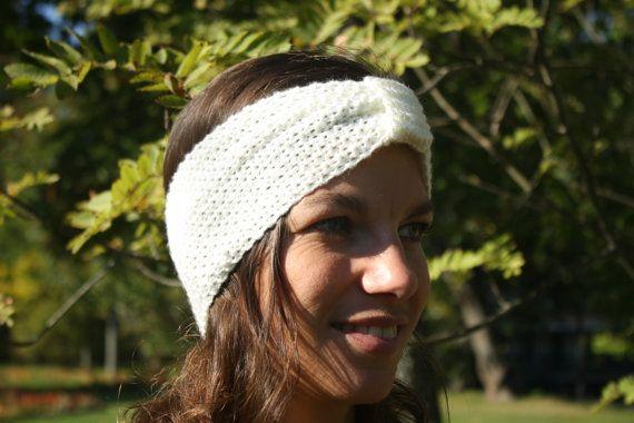 Hand knitted ladies headband- Off white, ecru