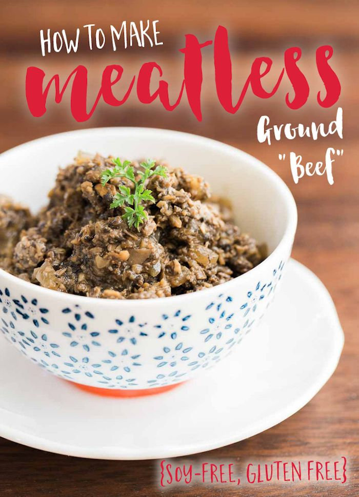 This delicious, umami-packed ground beef replacement is soy and gluten free. It can be made in minutes and used with anything from pasta to pie to pizza!