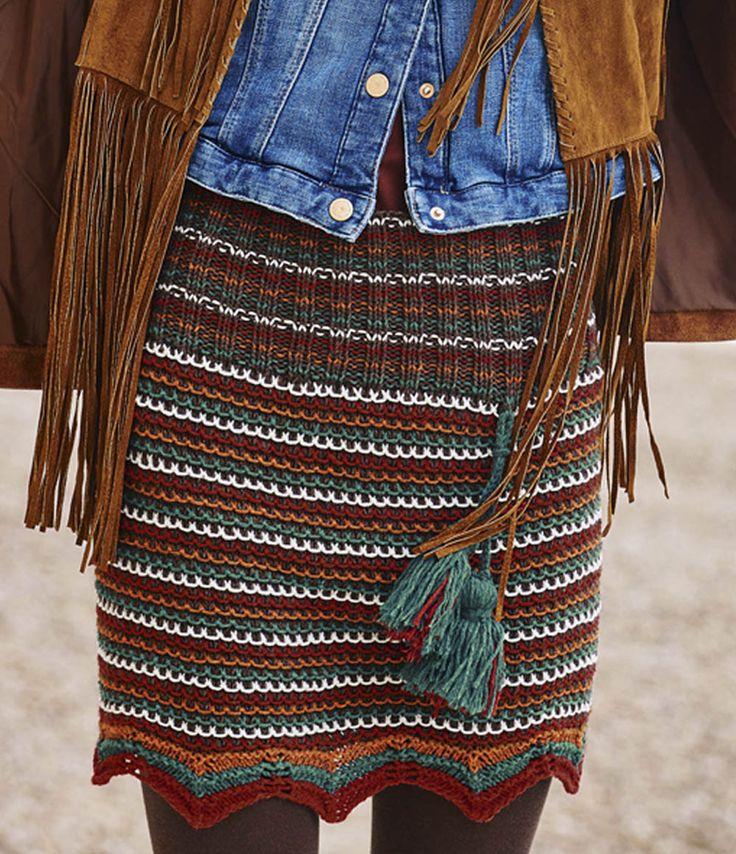 Схема и описание вязания на спицах облегающей юбки из журнала «Вязание. Мое любимое хобби» №9/2015