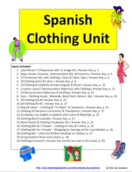 Spanish Clothing Unit - 40 pages with everything you need for lots of clothing vocabulary practice! There are plenty of activities to introduce an...