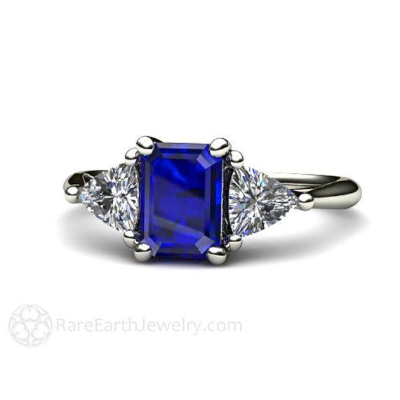Anillo de compromiso azul zafiro zafiro azul Vintage anillo billones zafiro blanco 3 tres piedra piedra 14K o 18K oro