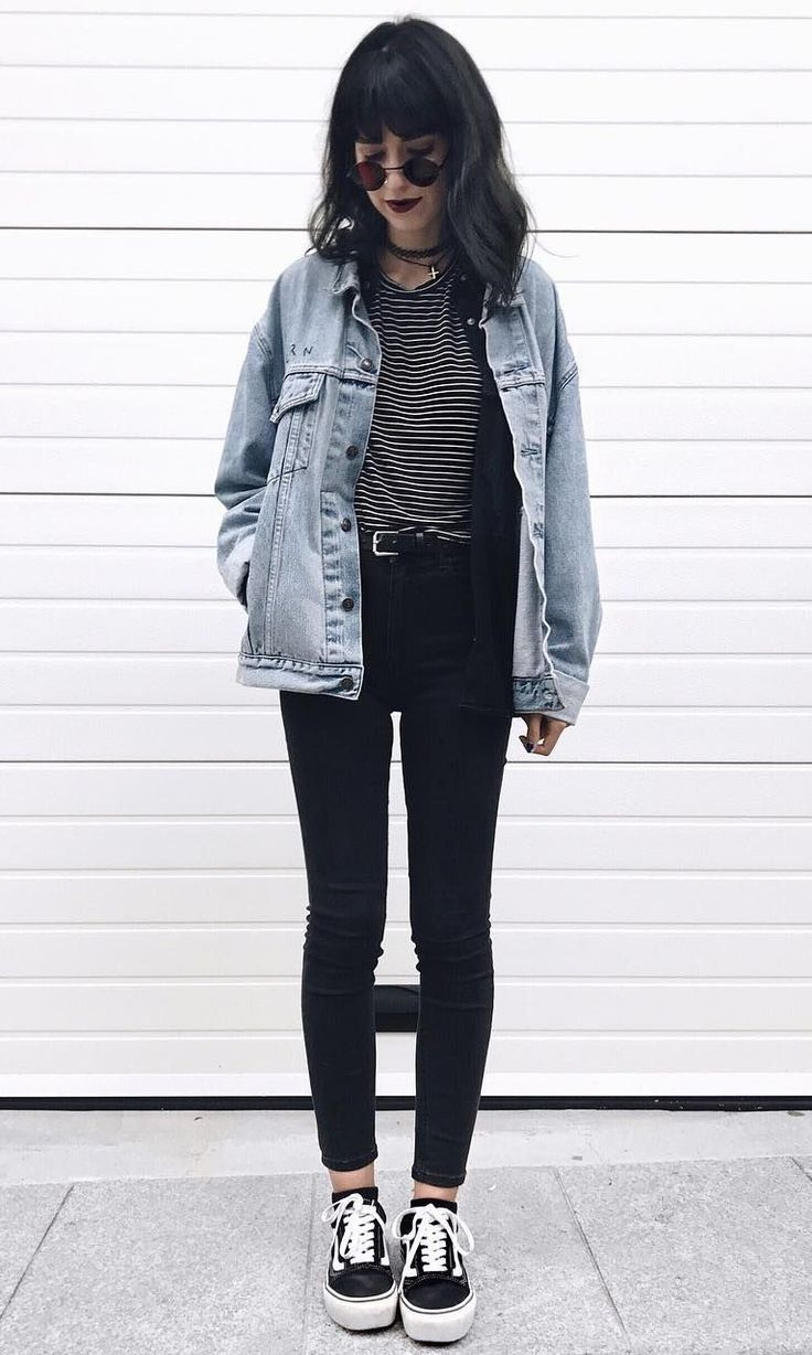 I'd like a black jean jacket with this outfit