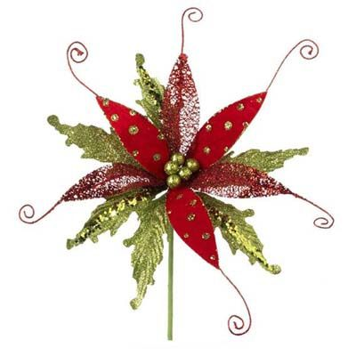 """RAZ Glittered Poinsettia Spray  Red/Lime Made of Plastic Measures 12"""" with 9"""" Stem  RAZ """"Snowdoodles"""" Collection"""
