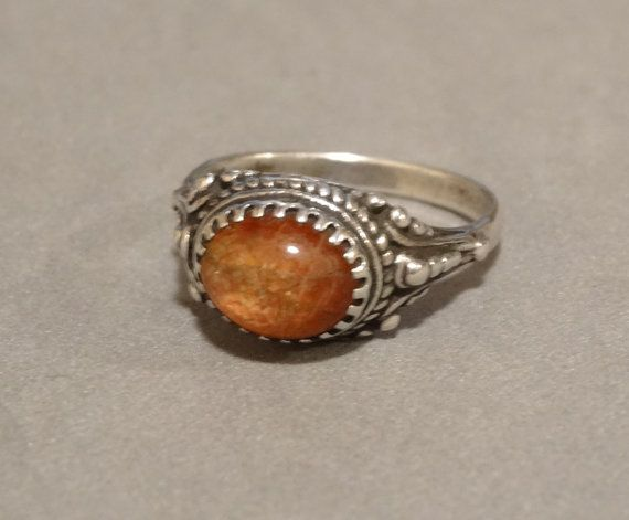 Vintage Orange Opal Ring Sterling Silver Fire Opal October Gemstone Size 8.5 Genuine Antique Early 1900s