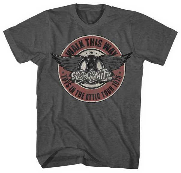 Aerosmith T-shirt - Vintage Style - Vintage Band Tees 1975 Walk This Way - http://www.band-tees.com/store/AH163!FEA/Aerosmith+Walk+This+Way+Mens