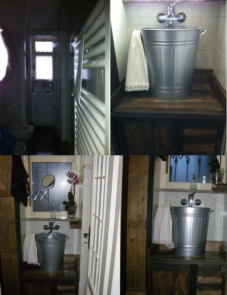 Da un brutto e vecchio lavatoio ad un caldo e accogliente lavabo vintage. realizzato con pochi pezzi di legno di scarto.