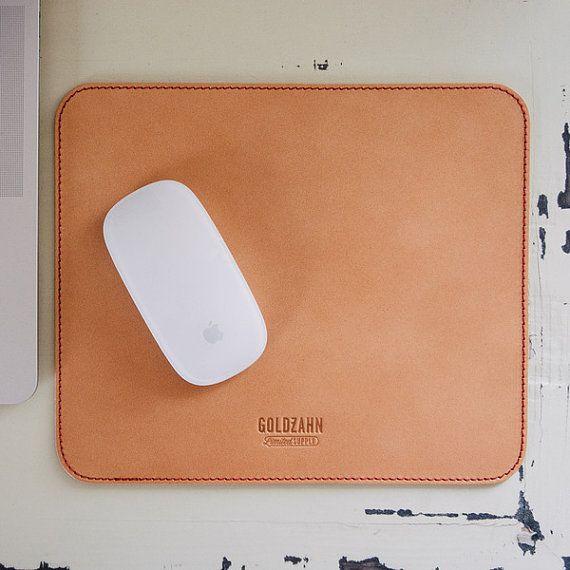 Organic leather mousepad by GoldzahnSupply on Etsy, €29.00