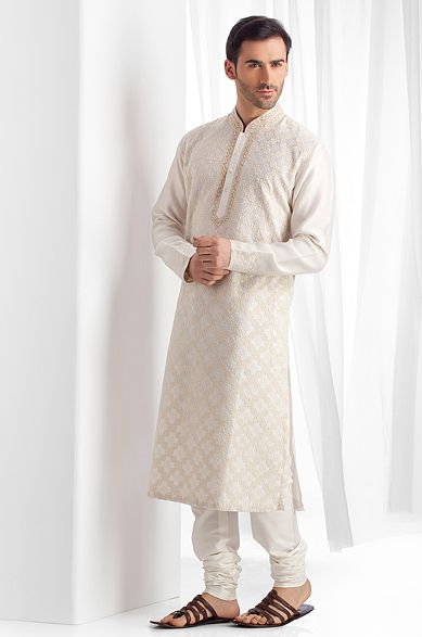 Chanderi fabric kurta churidar with all over embroidery