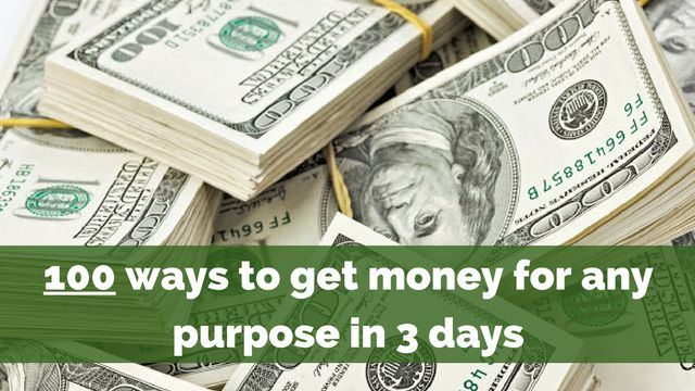 We all need #money for many purposes but regardless what it is in your case, this information may help you get money that you need in... 3 days:  http://brandonline.michaelkidzinski.ws/100-ways-to-get-money-for-any-purpose-in-3-days/