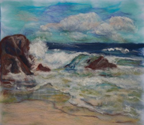 felt painting of west coast of King Island - looks a lot like Middle Earth - by Liz Butcher