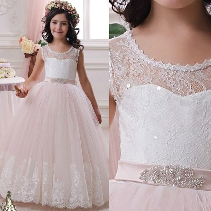 2016 White lace ball gown wedding dresses tablespoon Girls pageant dresses first communion dresses communion dresses girls