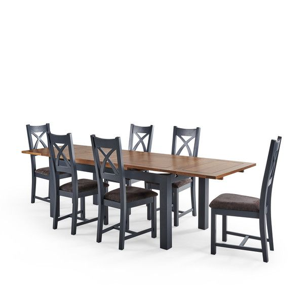 Rustic Solid Oak And Painted Dining Sets 6ft Extending Dining