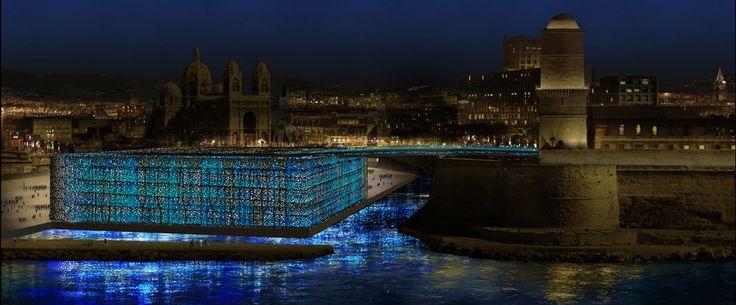 Simulation de nuit depuis le Pharo, 16 fevrier 2012 - Mer-Veille, MuCEM, Marseille, France © Yann Kersalé, AIK