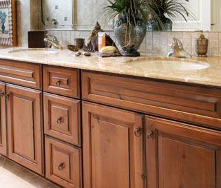Woodharbor Bathroom Vanity In Knotty Alder Wood And Toasted Nut Finish Traditional Look With A
