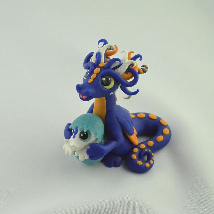 dragon with a baby, handmade dragon sculpture, handcrafted fantasy creature, blue dragon statue, miniature dragon art, original gift idea by ClayMeeples on Etsy