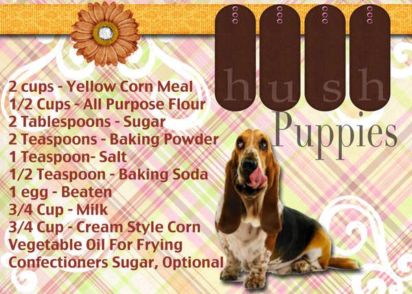 Searchwords: Hush Pupies Recipe Card (Front)