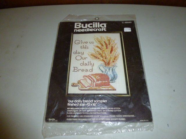 Bucilla Give Us This Day Our Daily Bread Prayer Cross Stitch Kit
