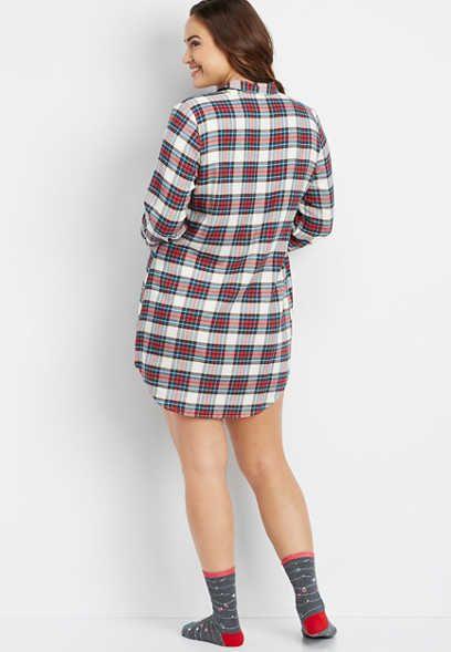 982246f93dddf plus size button down flannel tunic night shirt - alternate image ...