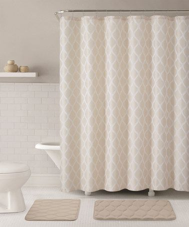 Look at this #zulilyfind! Taupe Mercer Shower Curtain, Hooks & Bath Rug Set #zulilyfinds