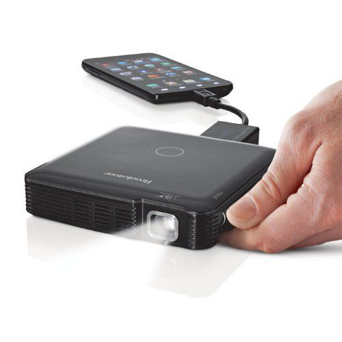 """HDMI Pocket Projector. Projects up to 1080p HD images up to 60"""" diagonal. Rechargeable and portable. Connects via HDMI to most smartphones, tablets, computers, video players, cameras and more. Price: $299.99"""