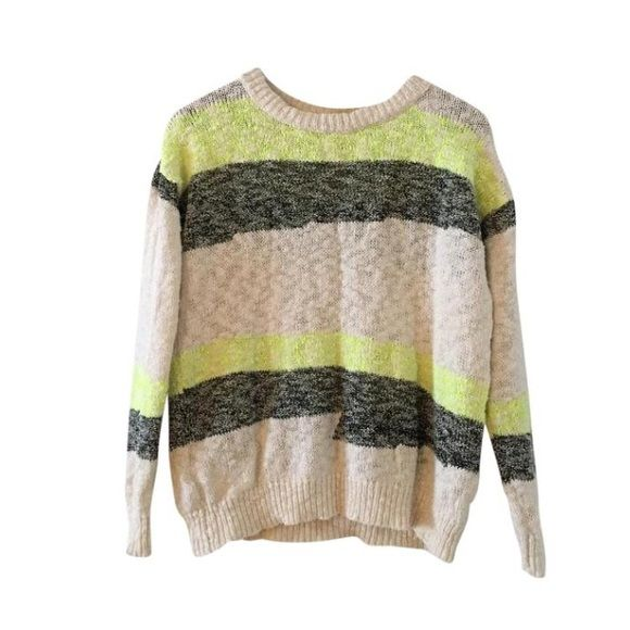 Mango sweater Fluro yellow/green, cream and black stripe. Purchased in Barcelona at flagship Mango store! Relaxed fit. Excellent quality. USA XS. Mango Sweaters