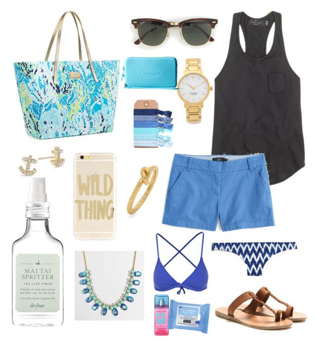 Untitled #131 by bowhunter1498702 on Polyvore featuring J.Crew, Rip Curl, Ancient Greek Sandals, Lilly Pulitzer, Havaianas, Kate Spade, Sonix, Neutrogena, Drybar and Victoria's Secret