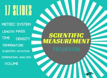 Easy to follow presentation in a format that makes it perfect for stations, blended learning or flipped classrooms. Can be used in conjunction with the Metric Measurements Guided Notes. This presentation covers: *the metric system and conversions *metric details for: length, mass, time, temperature, density, volume *scientific notation *dimensional analysis ======================&#x3D...