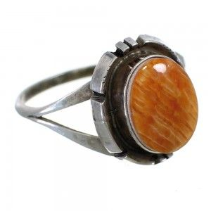 Oyster Shell Sterling Silver Navajo Native American Ring www,nativeamericanjewelry.com