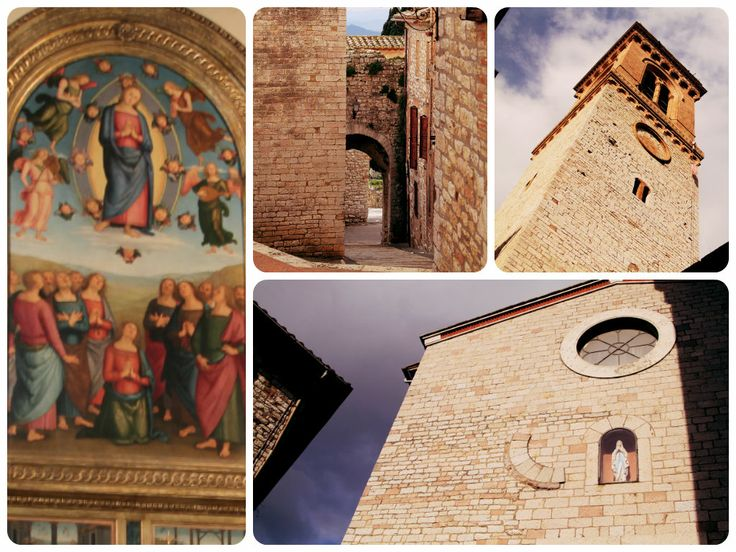 """La Chiesa di Santa Maria Assunta fu costruita a metà del XIII secolo. Sebbene la ristrutturazione del 1800 abbia lasciato ben poco dello stile originale al suo interno custodisce due importanti tesori: """"La Pala dell'Assunta"""" (1512-1513) considerata tra le migliori opere della tarda produzione de Il Perugino e Il Gonfalone di Benedetto Bonfigli (1472)."""