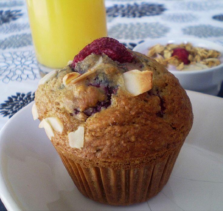 Muffins framboises et amandes #recettesduqc #muffin #framboises