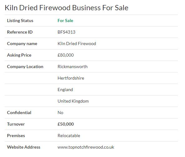 Business for sale - Kiln Dried Firewood Business For Sale Ref. BFS4313 Location #Hertfordshire,#UK   Asking Price £80,000 #Ownersellers #FreeOnlineBusinessTransferAgent #OnlineBusinesstransferagent   #sellingyourbusinessonline #Freebusinessvaluationonline #businessesforsaleonline   #freeonlinebusinesstransferagency #Firewoodbusiness #ecommerce #forklift