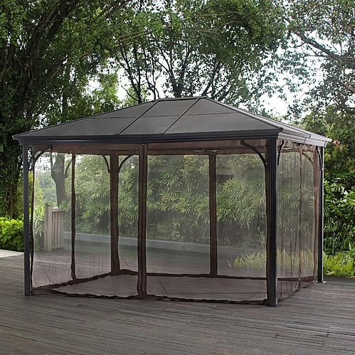 Essential Garden Poly Carbonate 10x12 Hardtop Gazebo with netting  alternate image