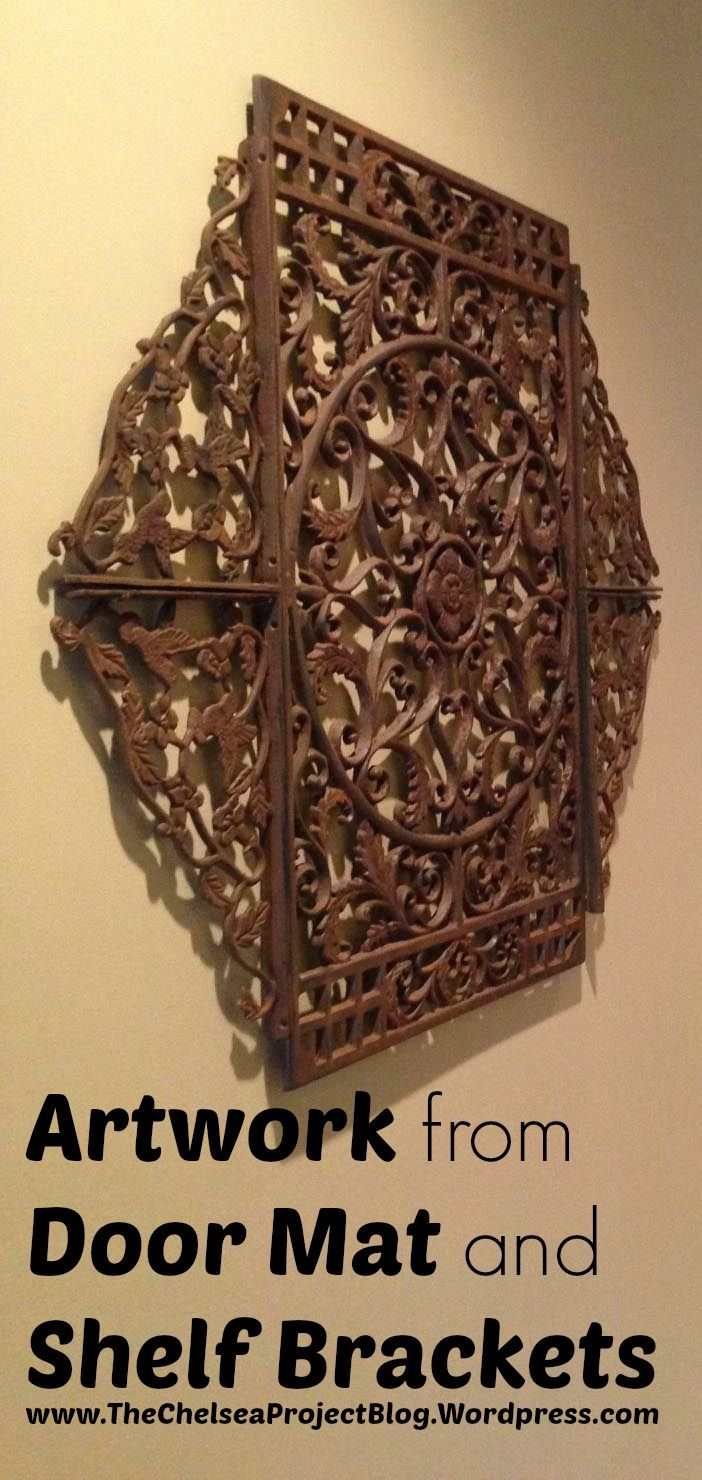 Rusty wrought iron door mat and four shelf brackets were put together to create a piece of textured art.