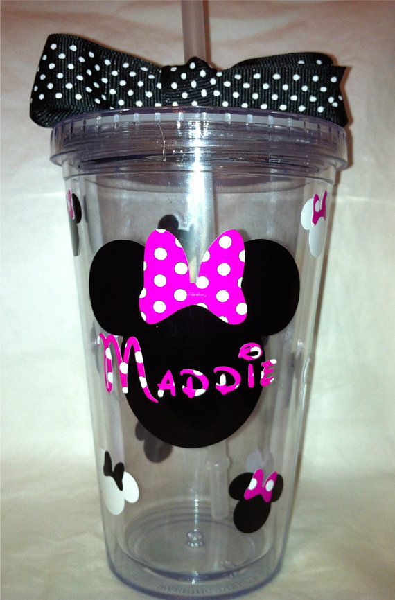 Pink Minnie Mouse Personalized Tumbler by SweetSerendipityShop, $13.00: Mice, Personalized Tumblers, Pink Minnie, Ideas Saskia, Minnie Mouse, Vinyl Tumblers, Mouse Personalized, Shirt Ideas, Birthday Ideas