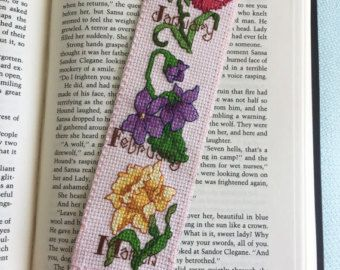 """Cruz puntada favorito, """"Mes de nacimiento flores I"""", hechos a mano marcador, regalo de Bookworm"""