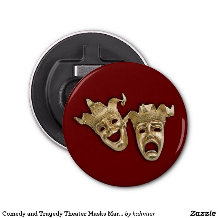 Comedy and Tragedy Theater Masks Maroon Bottle Opener #thespian #greektheatermasks