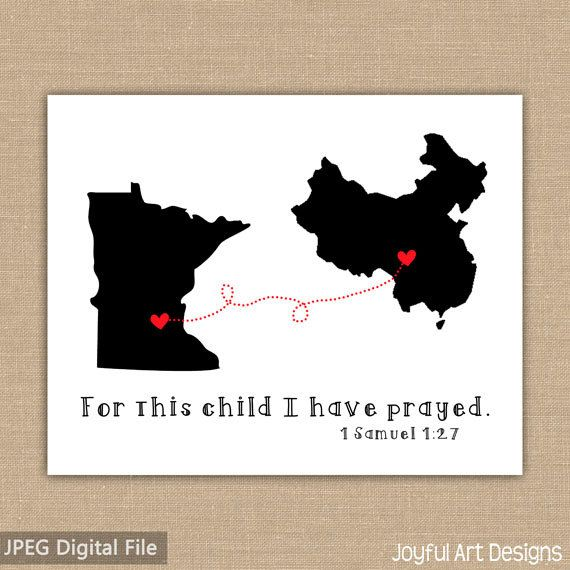 Adoption Maps with Connecting Lines PRINTABLE sign. China Adoption Map. 1 Samuel 1:27. Adopted Child Gift Adoption shower DIGITAL file