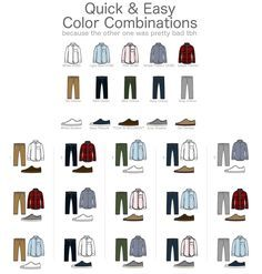 Some quick and easy color combination for your Trousers, Shirts and Shoes.