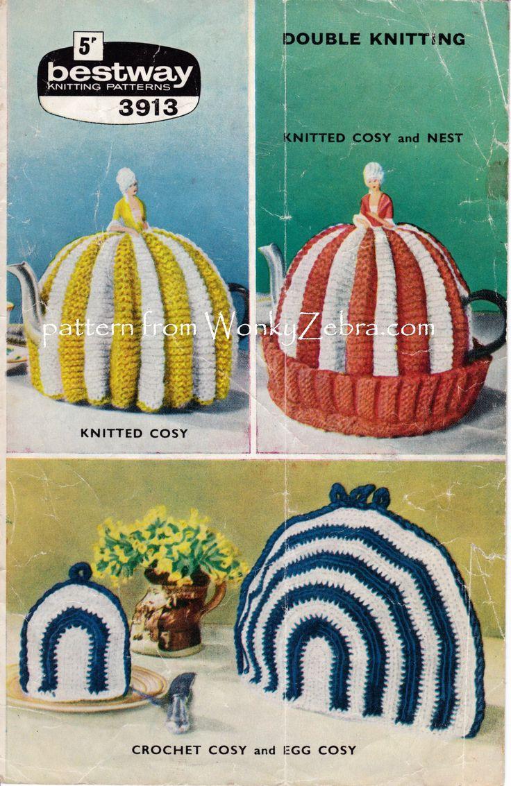 WZ891 vintage tea cosy and crochet breakfast set.pattern PDF from WonkyZebra on etsy