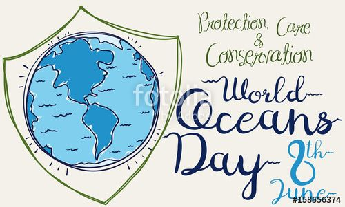 Poster with a giant Shield for World Oceans Day