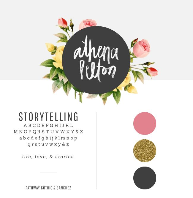 I love the contrast here between the sweet flowers and the bold black/gray circle. I also love glittery gold. launched : athena pelton - breanna rose