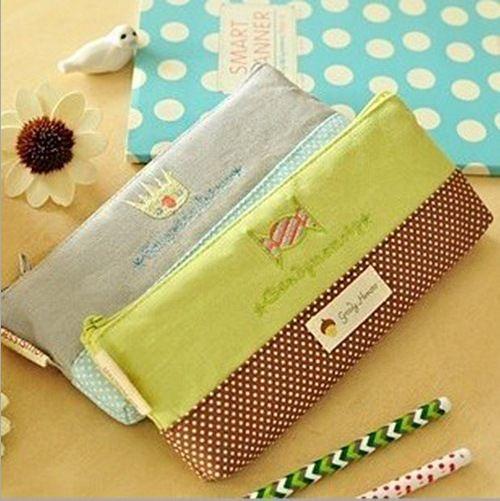 1PCS South Korea stationery fresh candy color love wave Ba BAG canvas embroidery stationery bag