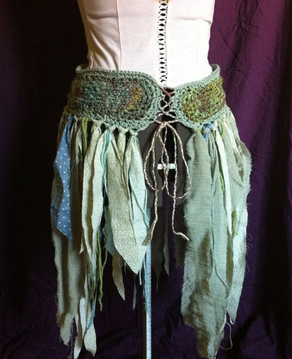 willow and  river faerie skirt with handspun by FairyTailsandFauns