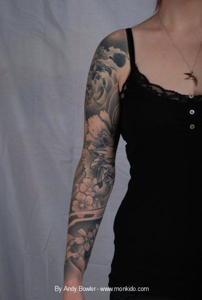 tiger and dragon sleeve tattoo | Dragon Tiger Half Sleeve Tattoos Picture