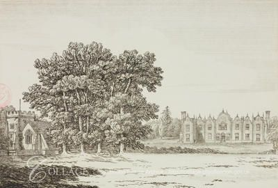 View of Harefield Place at Harefield in Middlesex; Harefield is now in the London borough of Hillingdon.    1800