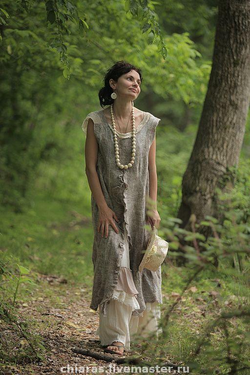 """Купить авторское платье """"Прованс""""- - эко платье, красивое платье, бежевый, кофейный, бохо"""